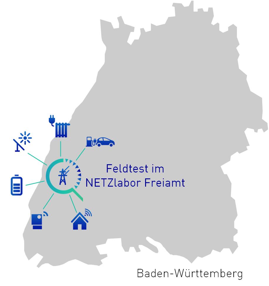 Baden-Württemberg Karte mit Freiamt als Feldtest-Stätte
